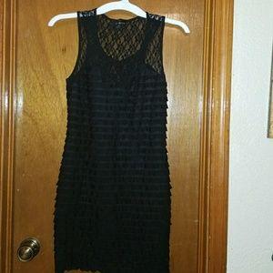 Dresses & Skirts - Black Lace & Ruffle Dress